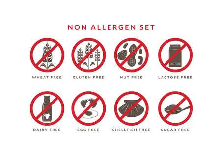 Non allergen set 向量圖像
