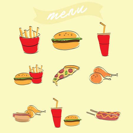fastfood-menu Stock Illustratie