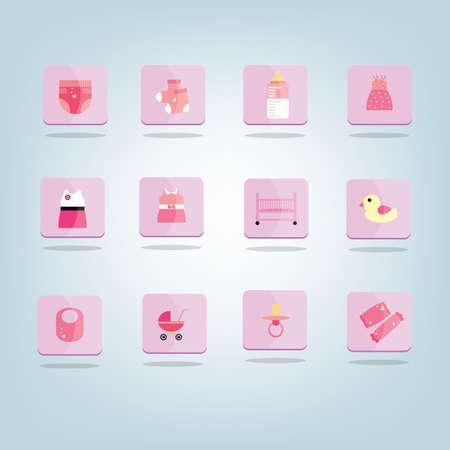 Een reeks van baby pictogrammen illustratie.