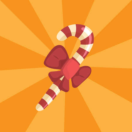 Candy cane with bow Ilustrace