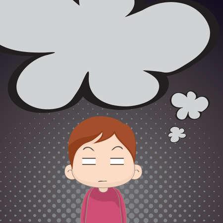 annoyed boy thinking Ilustração