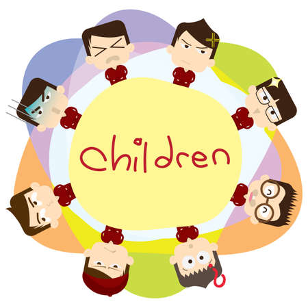 children with expressions Illustration