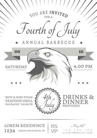 fourth of july independence day barbecue invitation 向量圖像