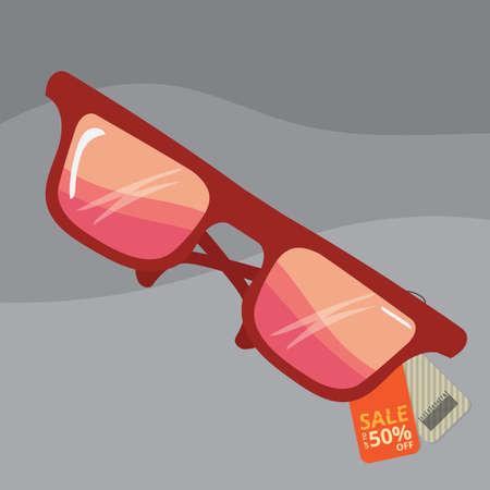 판매 태그가있는 선글라스