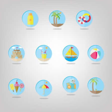 set van strand pictogrammen Stock Illustratie