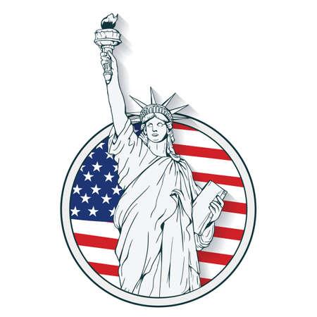 statue of liberty label Vettoriali