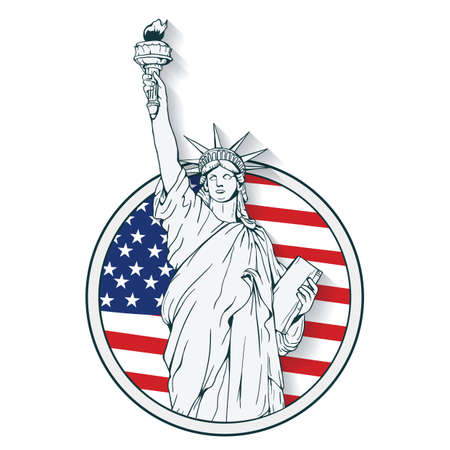 statue of liberty label Vectores