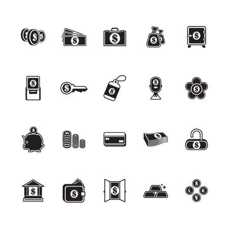 A money and banking icons illustration.
