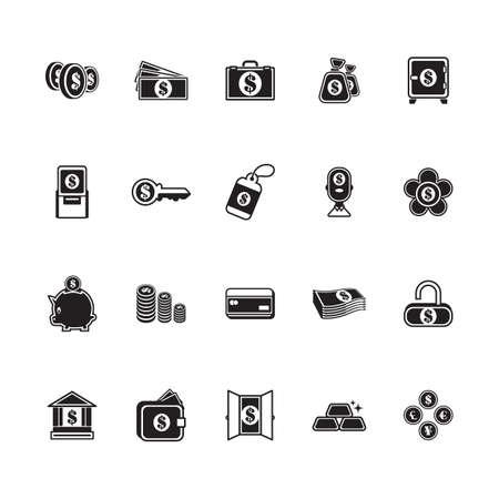 Una ilustración de iconos de dinero y banca. Foto de archivo - 81536124