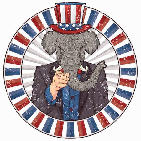 elephant wearing uncle sams hat