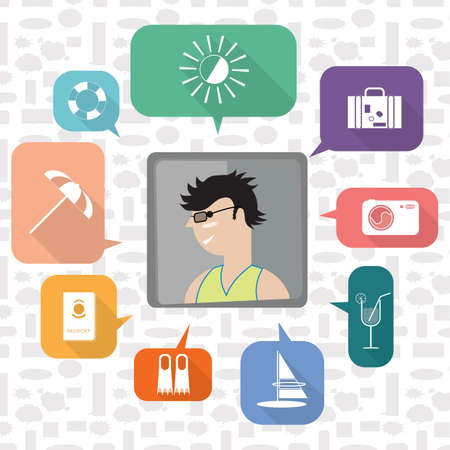 A boy with summer vacation icons illustration.