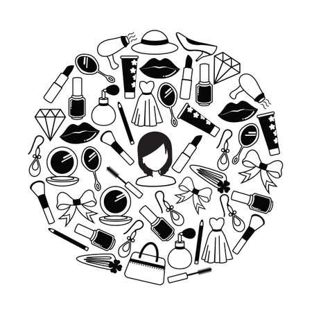 Set van schoonheidspictogrammen Stock Illustratie