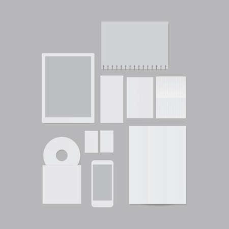 플랫 디자인 용지 및 기술 템플릿 그림.