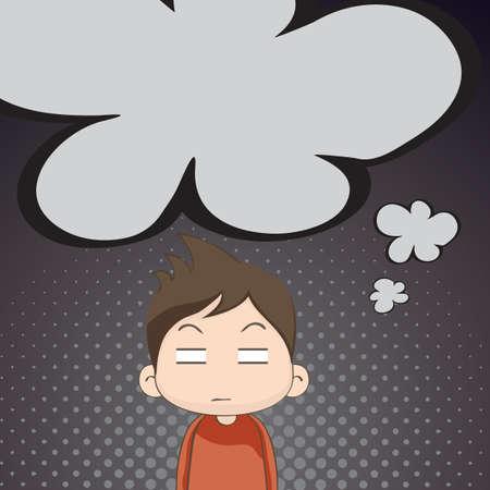 annoyed boy thinking Çizim