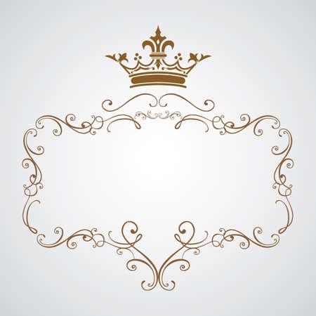 decoratief frame met kroon Vector Illustratie