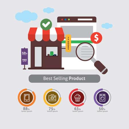 オンライン ショッピングのインフォ グラフィック