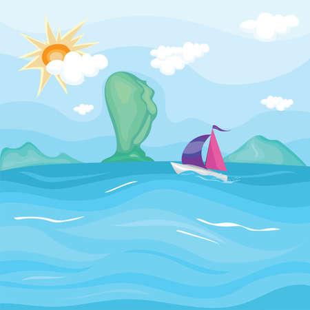 ボートで海の上