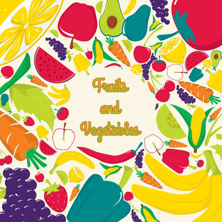 fruits and vegetables Stock Illustratie
