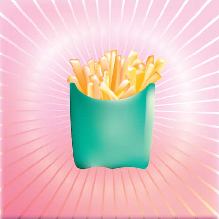A french fries packet illustration.