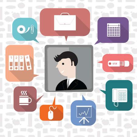 Un hombre de negocios con la ilustración de los iconos de negocios. Foto de archivo - 81536176