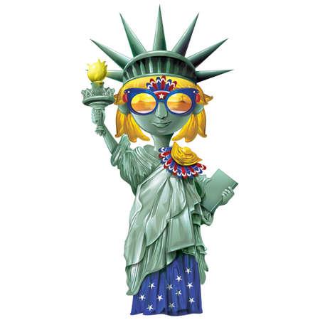 statua della libertà indossando occhiali da sole