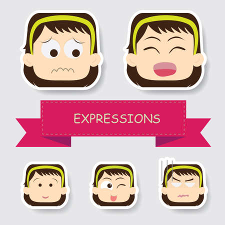 girl with different expression Иллюстрация