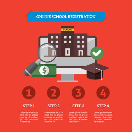 Infographic of online school registration Иллюстрация
