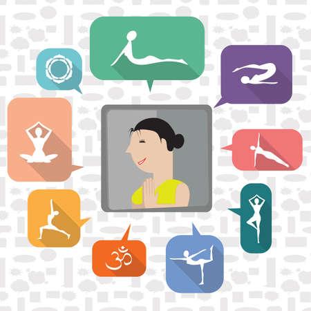 Una muchacha con la ilustración de los iconos de la yoga. Foto de archivo - 81536202