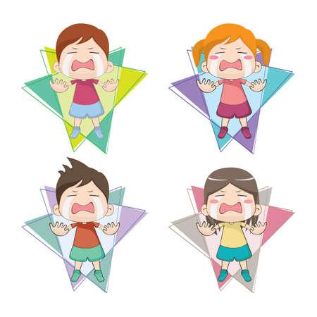 huilende kinderen Vector Illustratie