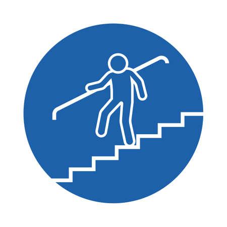 persona bajando las escaleras Ilustración de vector