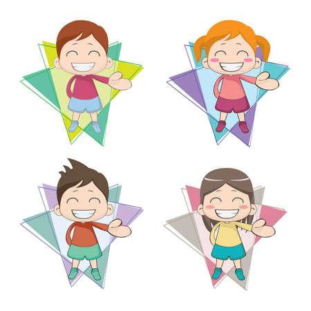 grinning children Ilustrace