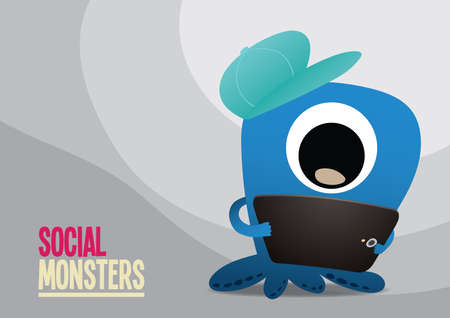 social monster with tablet