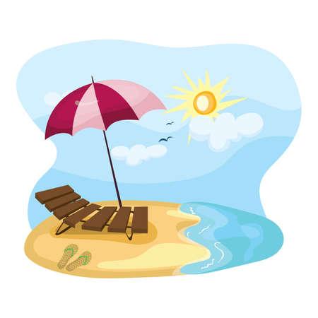 Spiaggia con sedia in legno rilassante Archivio Fotografico - 81485848
