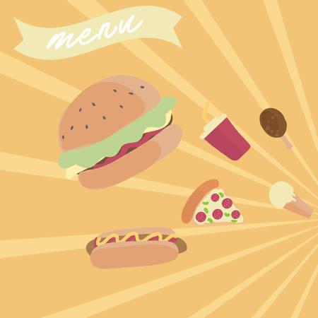 Una ilustración de menú de comida rápida. Foto de archivo - 81536213