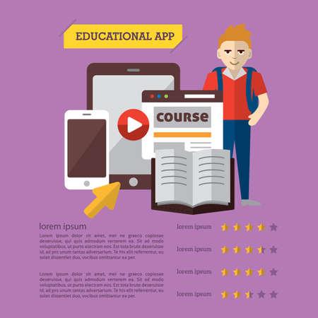 オンライン教育のインフォ グラフィック  イラスト・ベクター素材