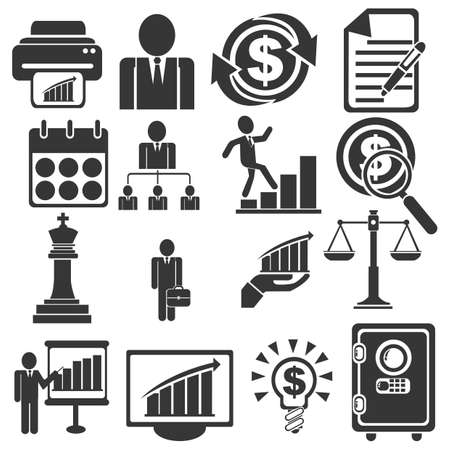 business and management icons Иллюстрация