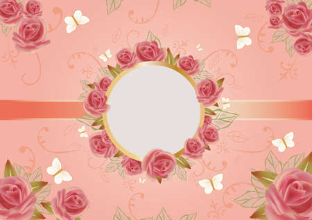 card of beautiful roses with round frame
