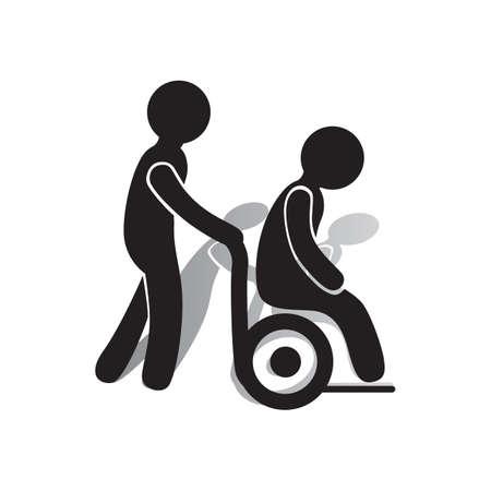 휠체어에 도움을 받고있는 사람.