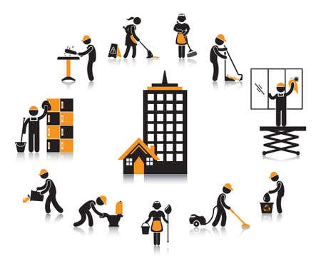 Bürogebäude Arbeiter Konzept