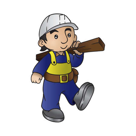 Construction worker holding a wooden plank.