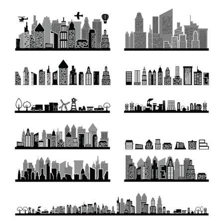 collection de toits de la ville noir et blanc