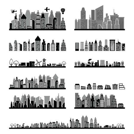 black and white city skyline collection Illustration