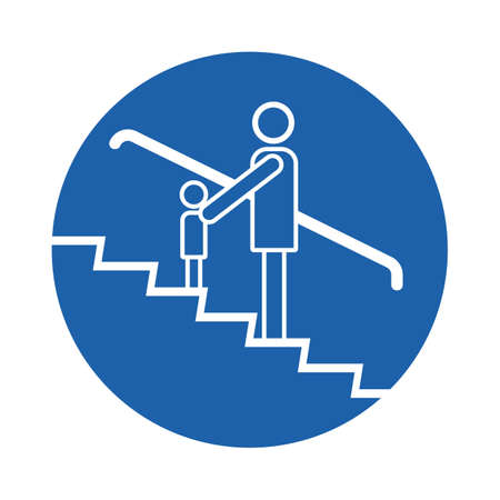 adult and children on escalator
