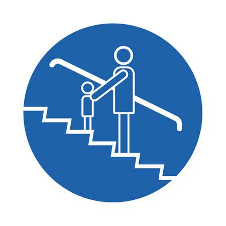 adult and children on escalator