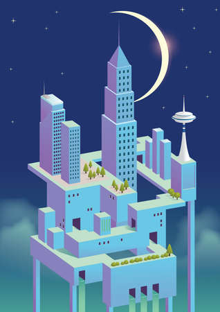 concepto de ciudad urbana en la noche