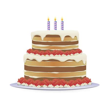 birthday cake with three burning candles Ilustração