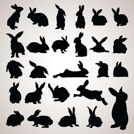 Kaninchen-Silhouetten