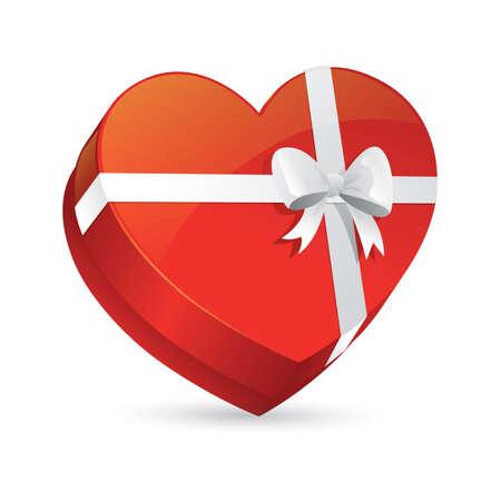 heart shape gift box with ribbon Illustration
