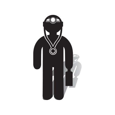 ブリーフケース アイコンを持つ医師。