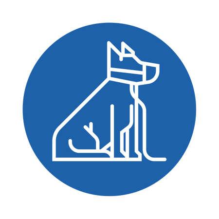 dog on leash with muzzle Illustration